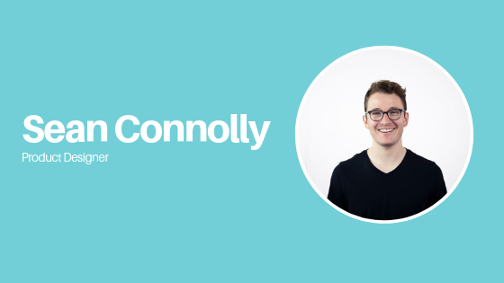 sean connolly product designer with blue background and photo of him