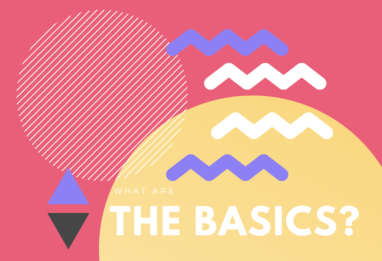 what is scrum the basics graphic in yellow and pink with shapes