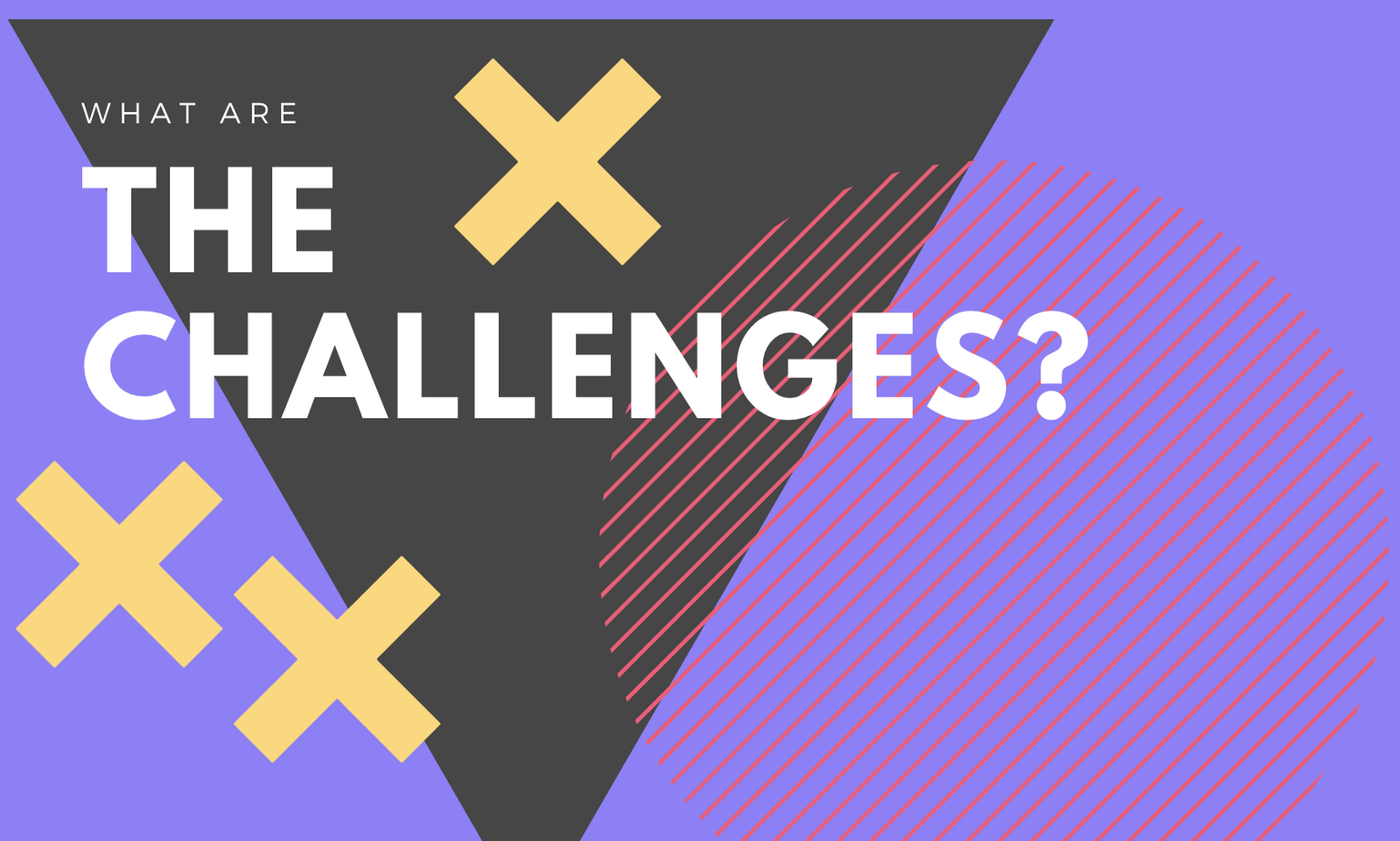 what are the challenges of scrum graphic with pink, yellow gray and purple shapes