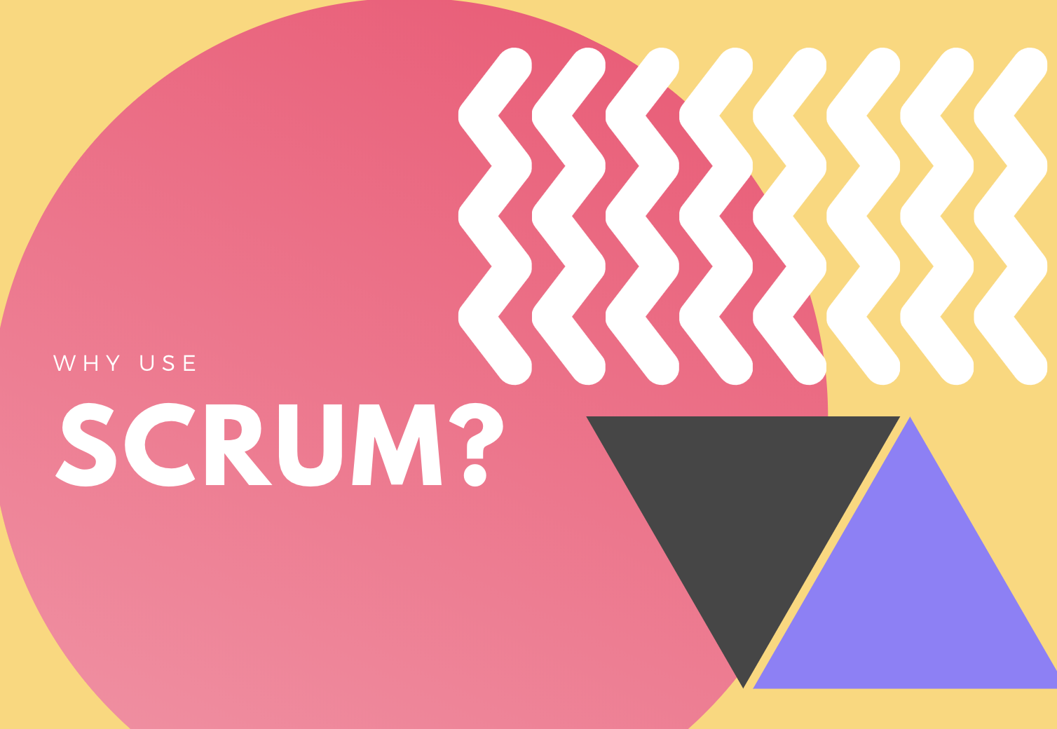 why use scrum graphic with shapes in pink, white, gray and purple