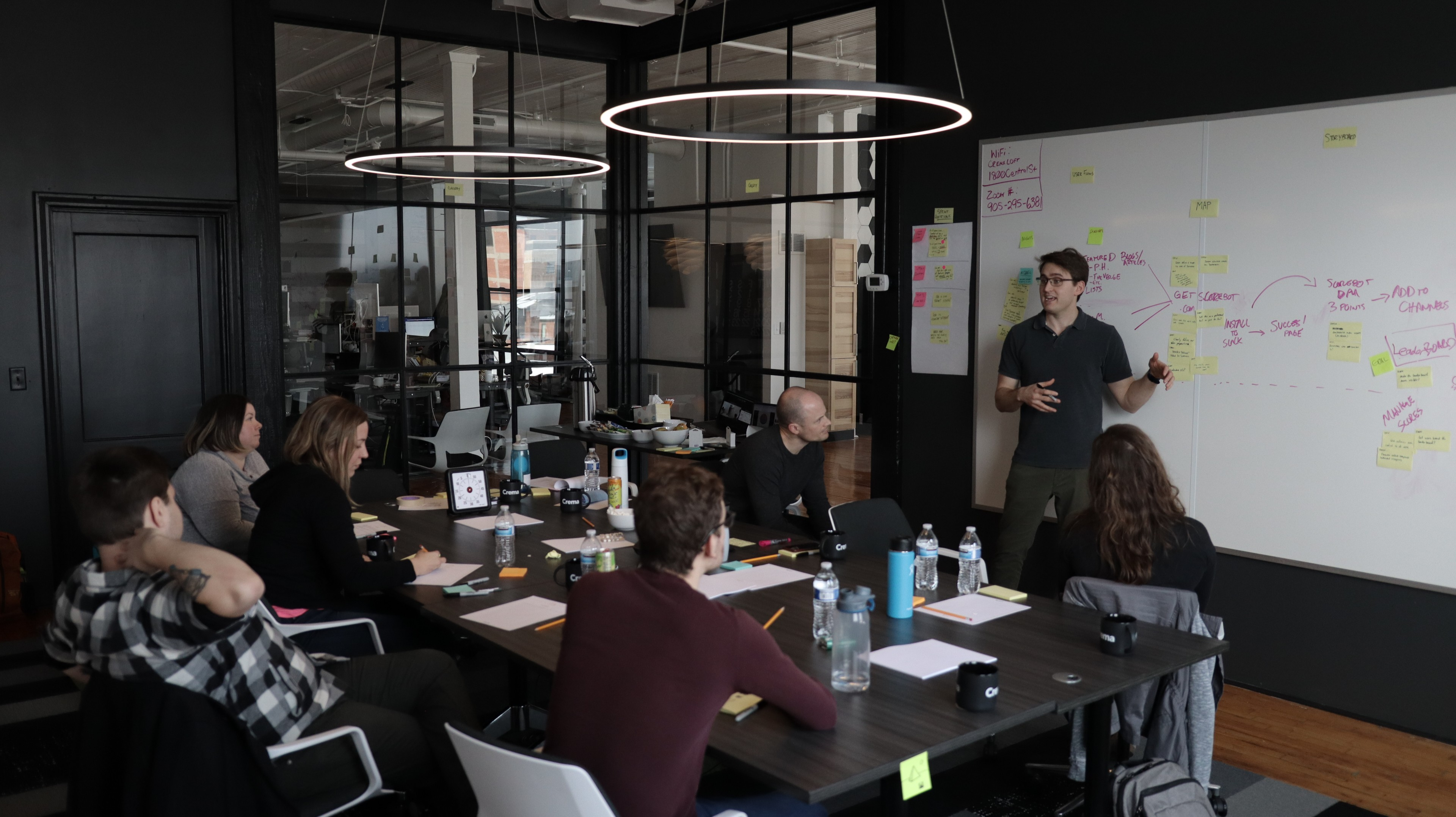 Justin Mertes standing in front of group of people and facilitating design sprint in crema loft