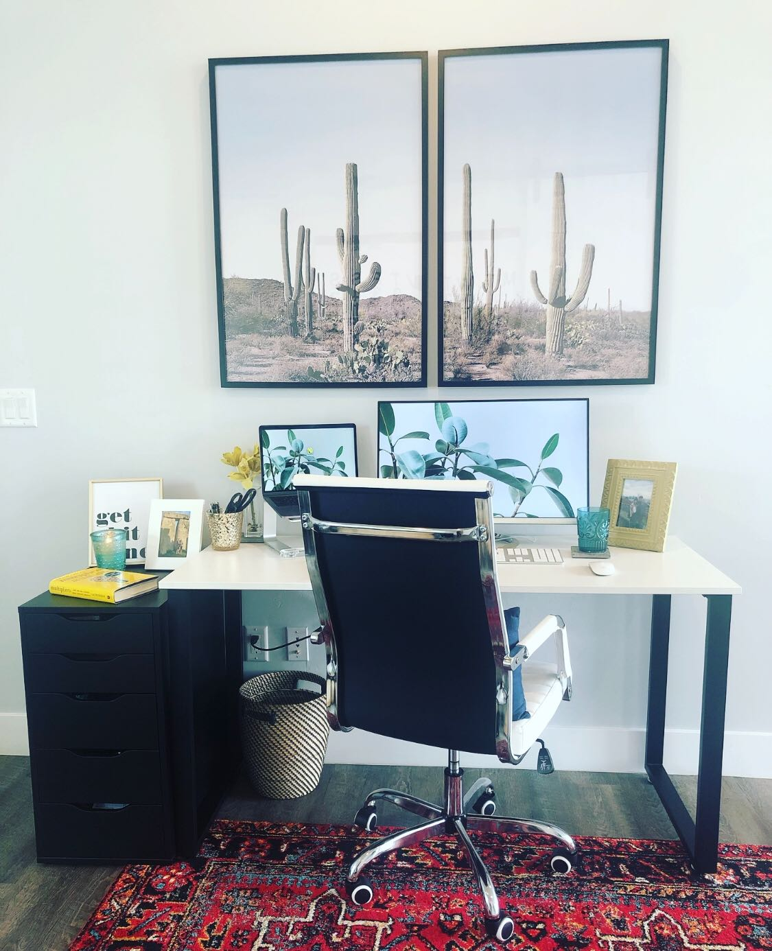 work from home office with cacti picture and desk