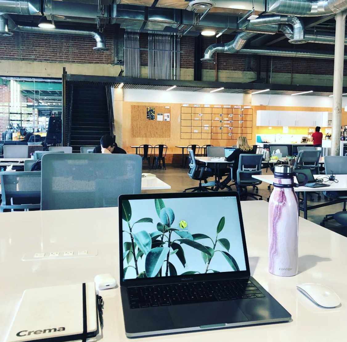picture of alexa desk at working space with water bottle and computer