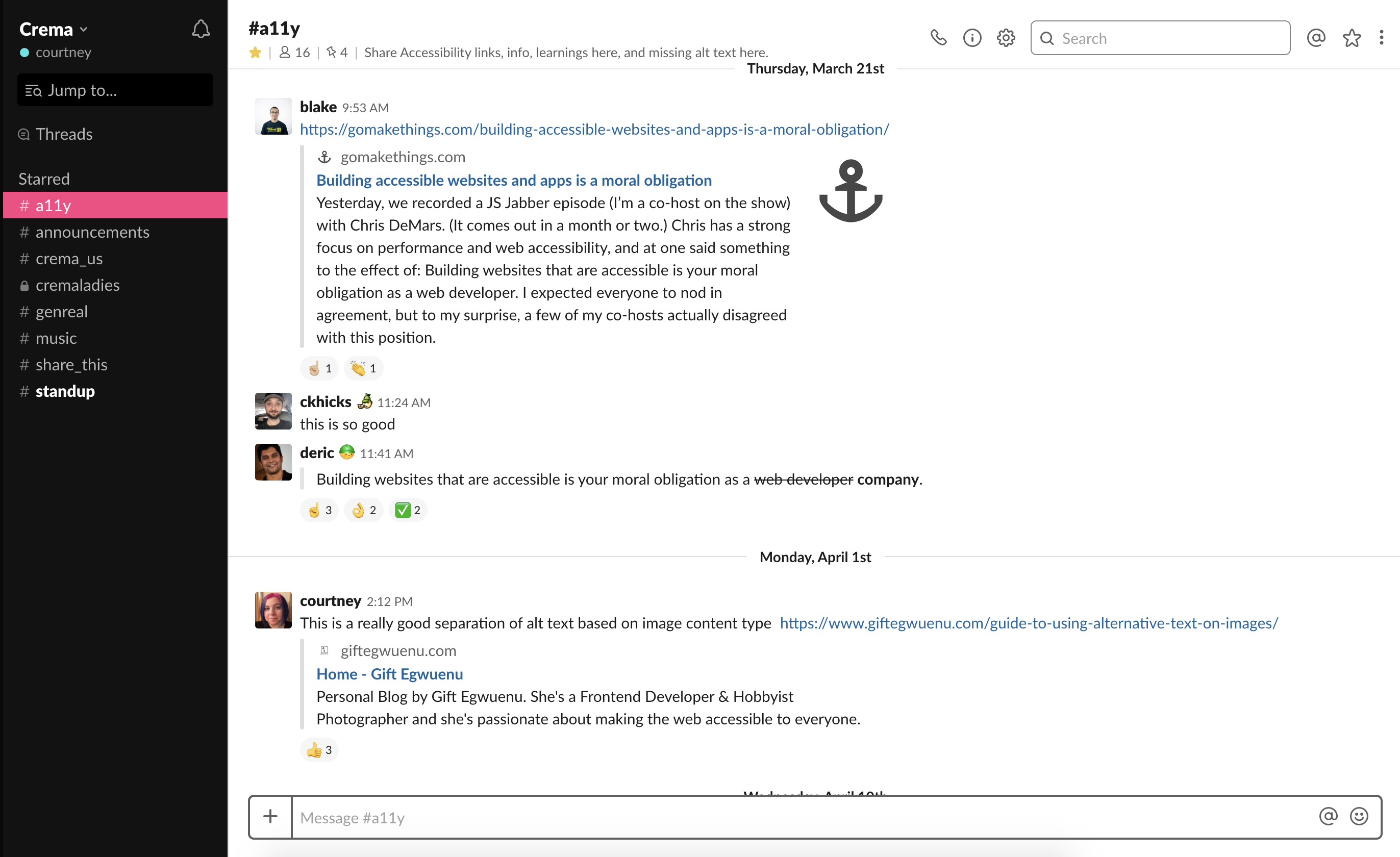 screenshot of slack channel about accessibility