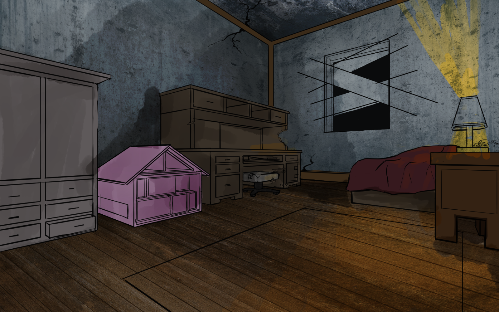 bedroom with boarded window and pink doll house video game