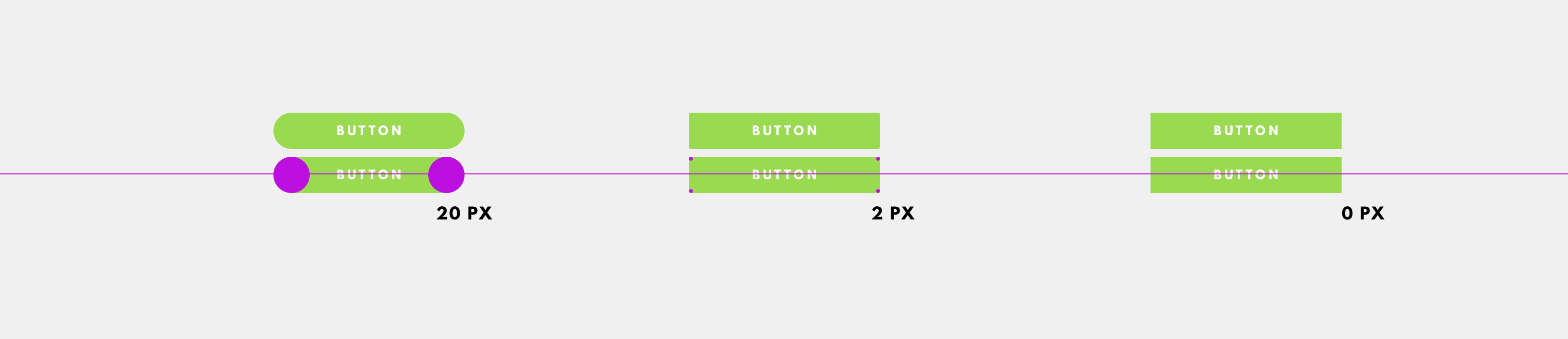 3 different button styles with 20px, 2px, and 0px
