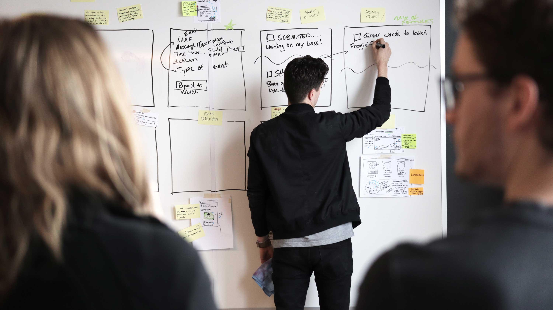 Scorebot Design Sprint Whiteboard Drawing