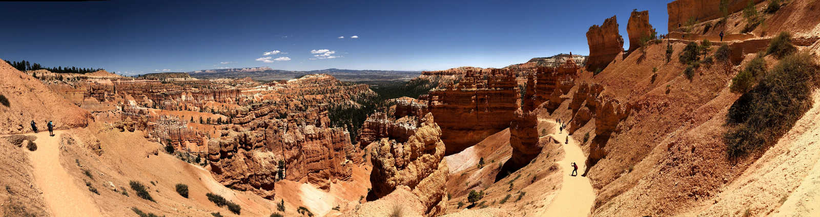 Expansive views of Bryce Canyon brown rocks and blue sky