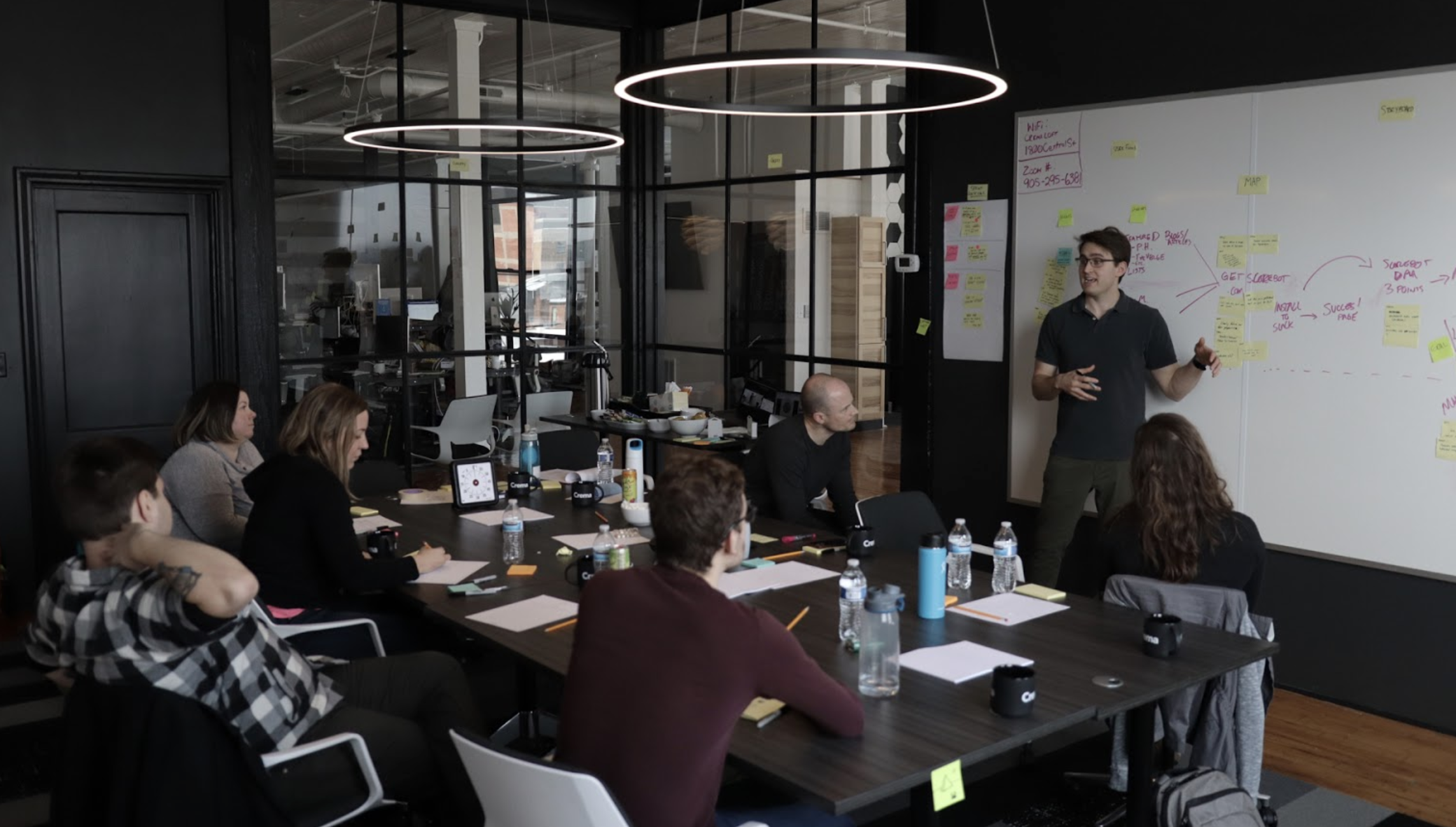 man facilitating design sprint at front of room