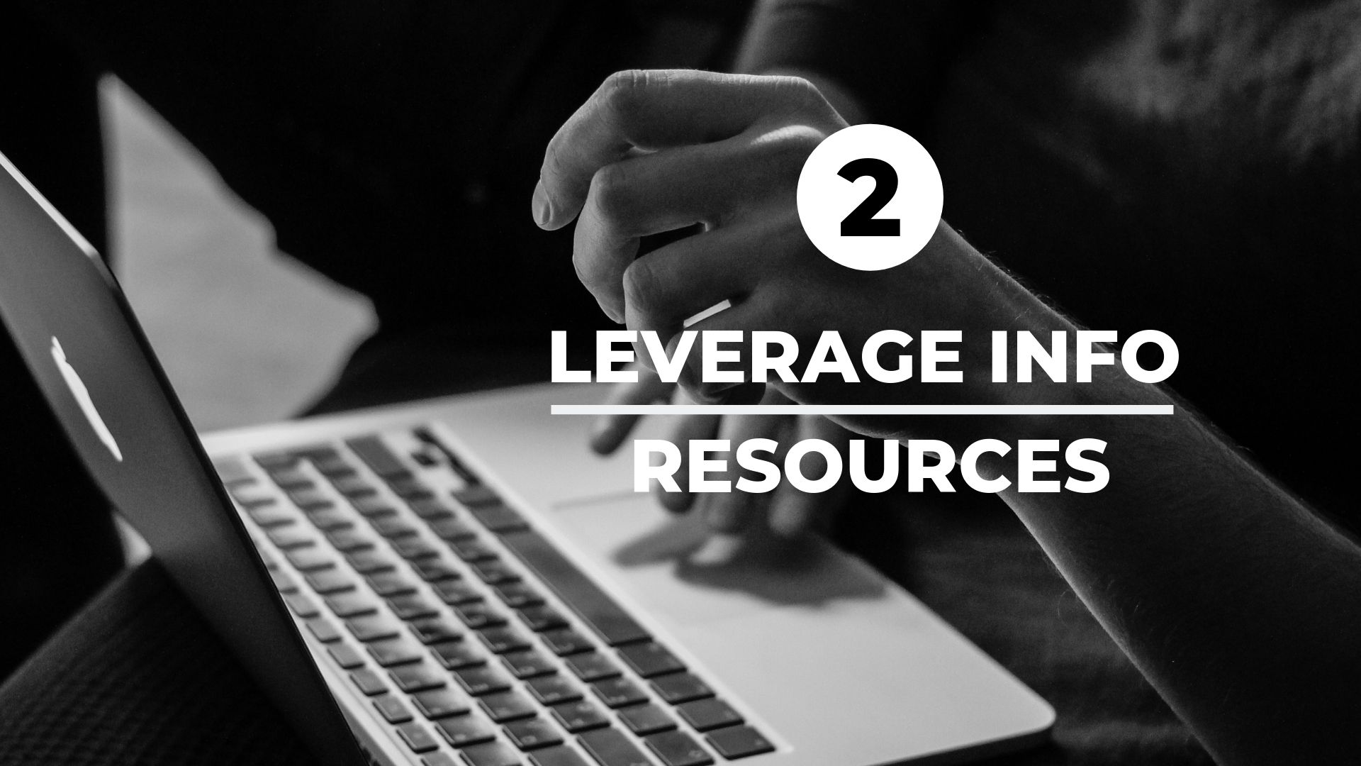 leverage info resources with woman on computer in background