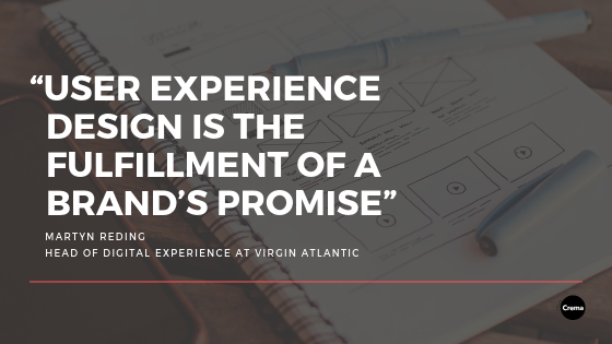 user experience design is the fulfillment of a brand's promise quote on top of a picture of a sketchbook