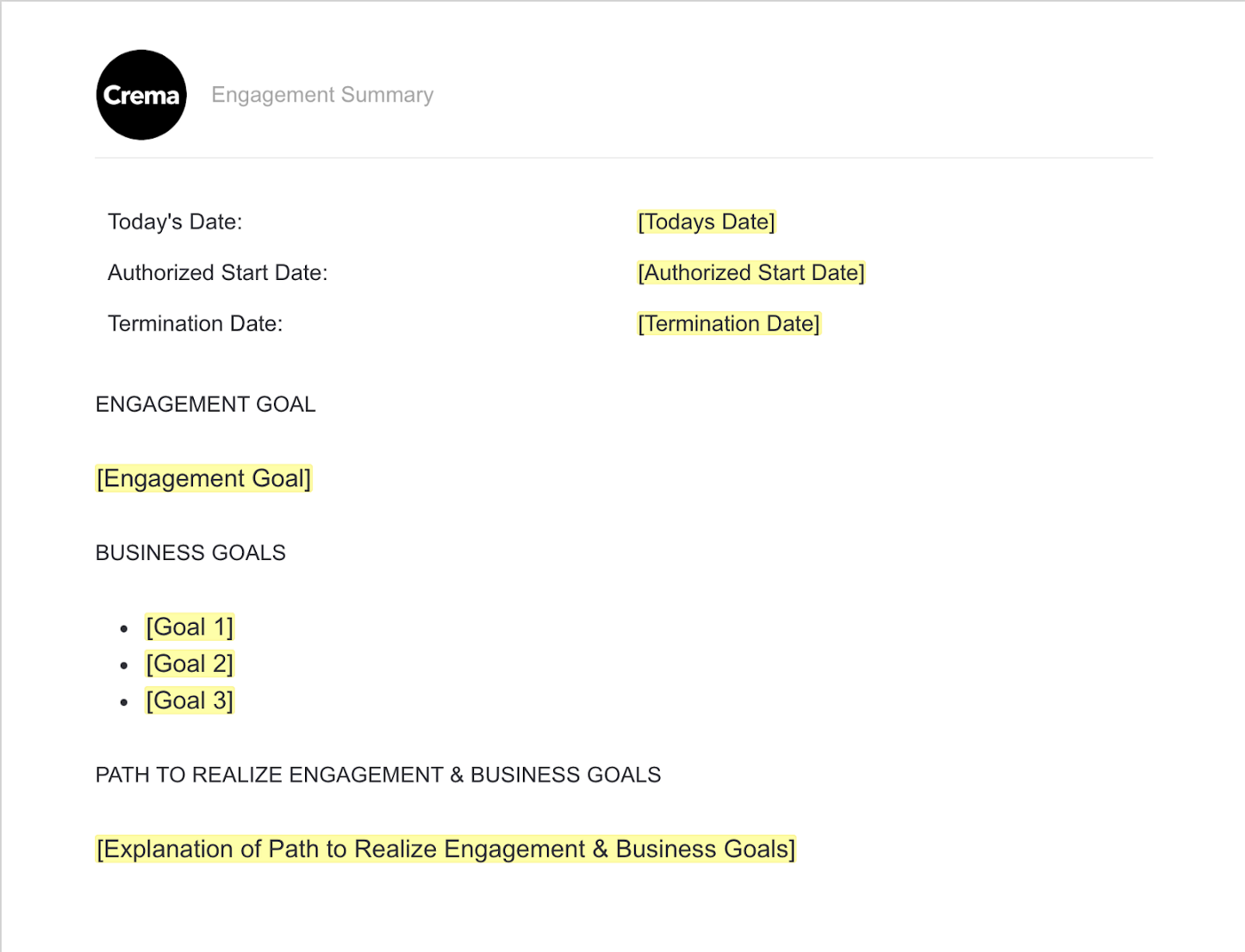 engagement summary contract