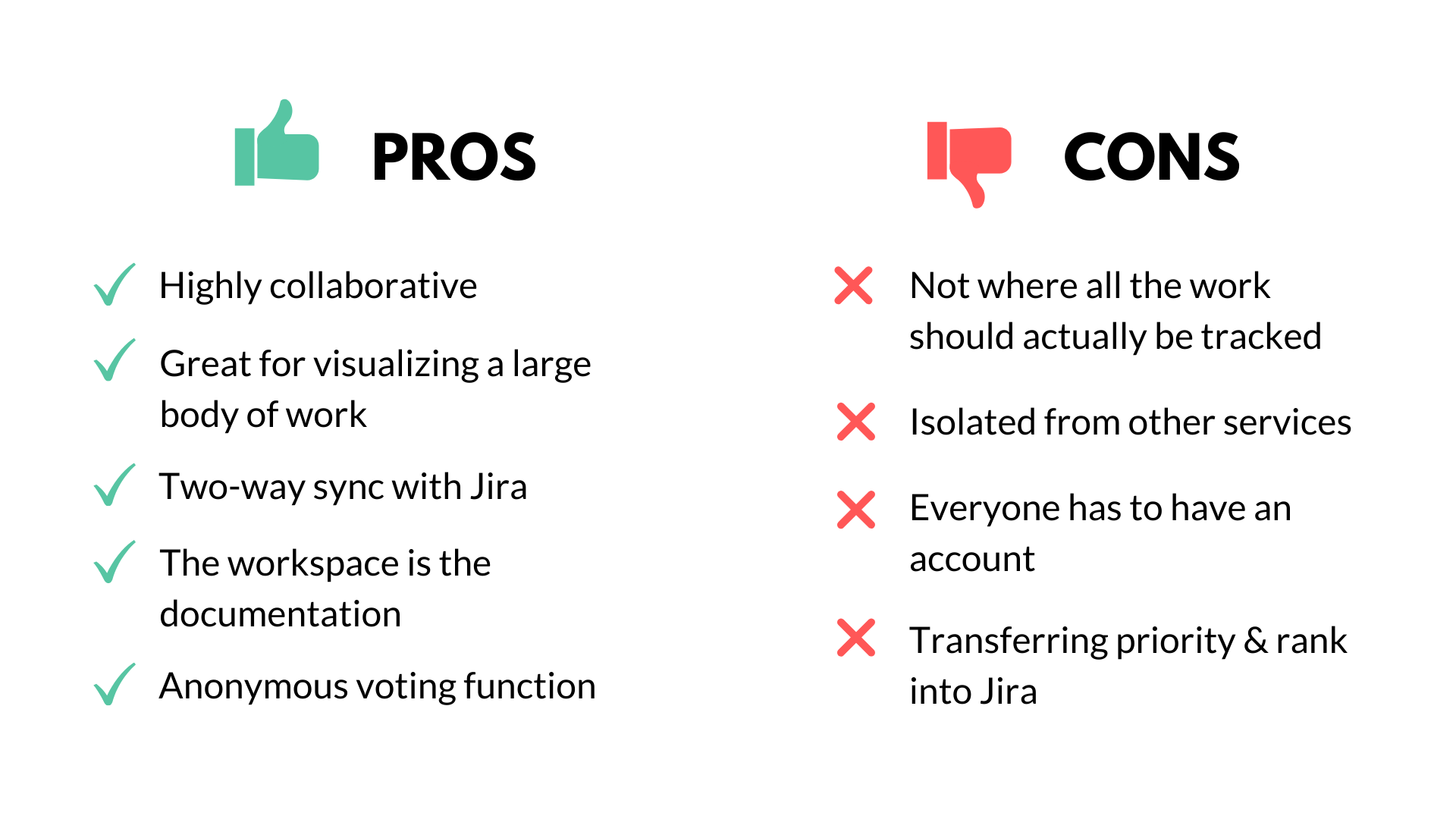 pros and cons chart of Miro tool, black green and red