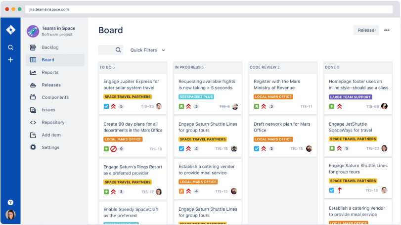 Jira dashboard screen shot