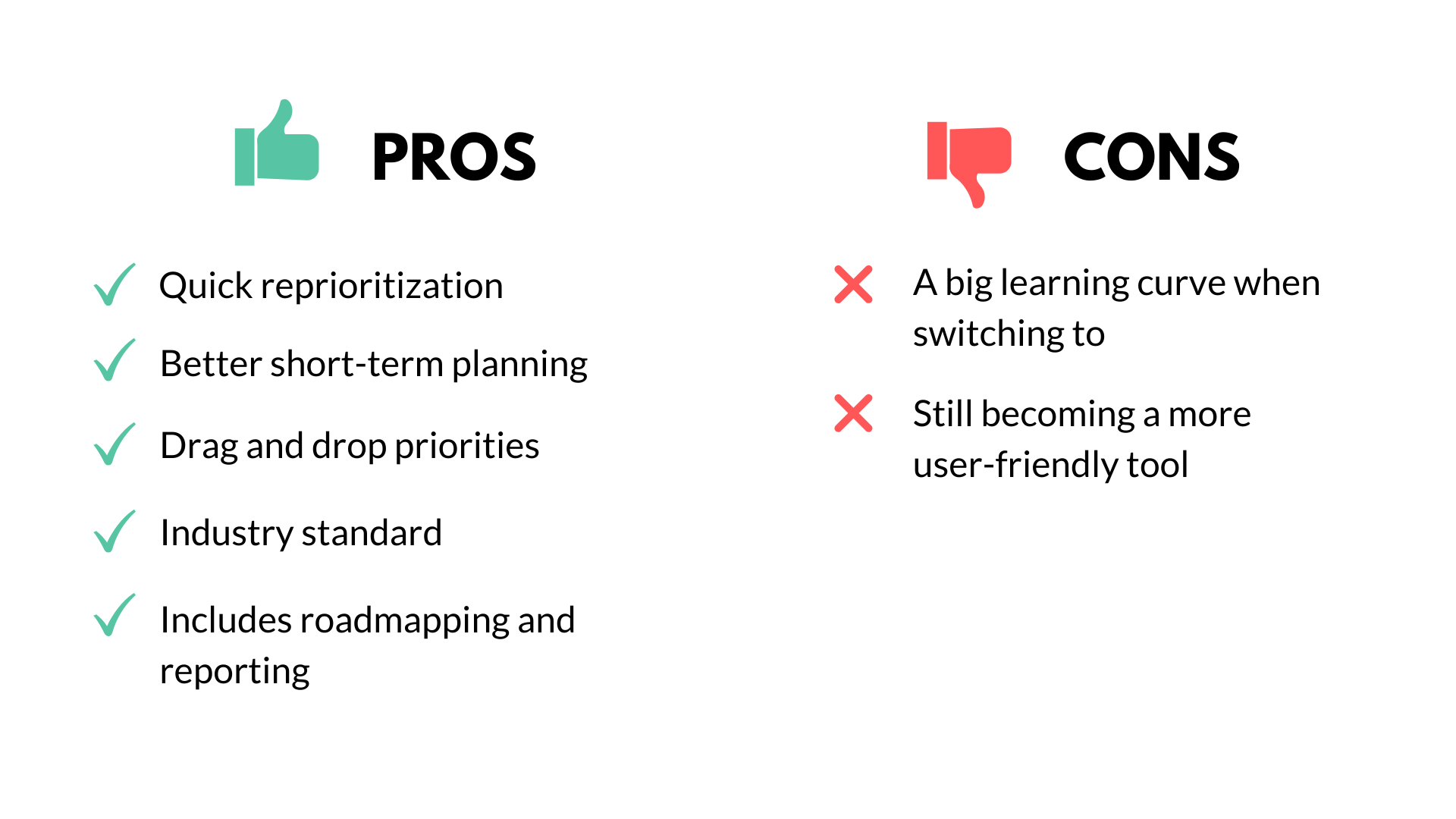 pros and cons chart of Jira tool, black green and red