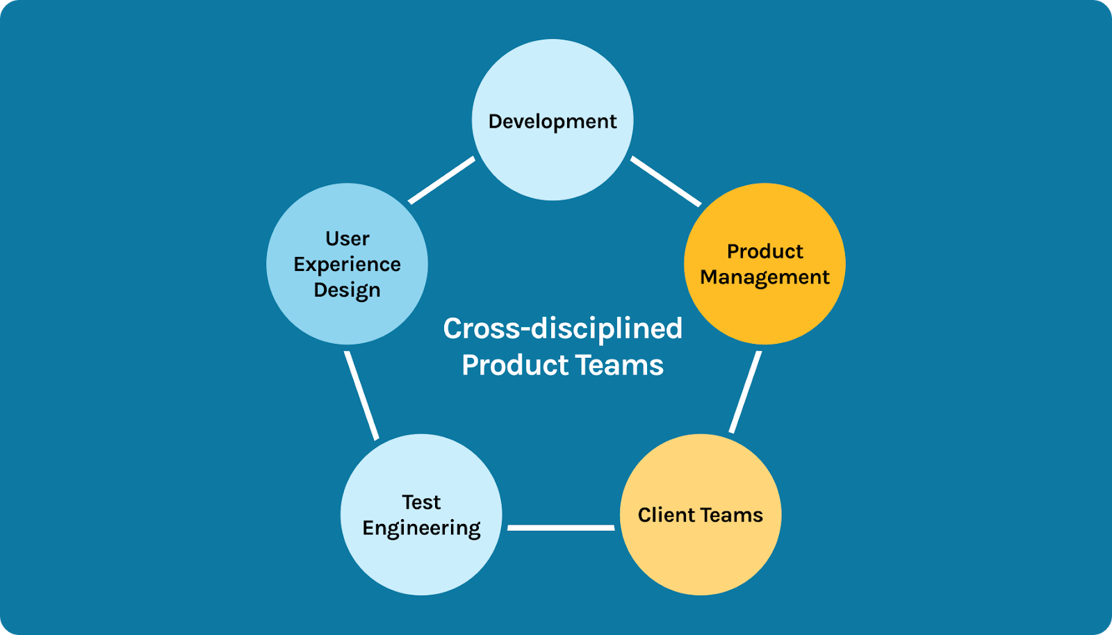 Graphic displaying the 5 pillars of cross-disciplined product teams
