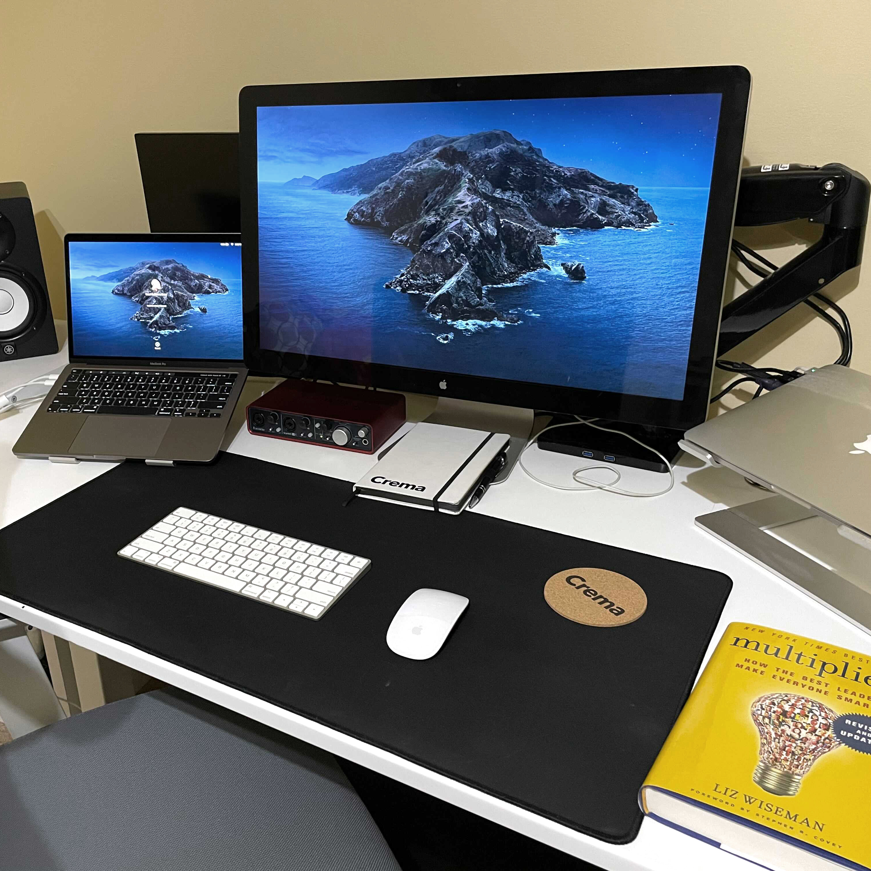 Israel's desk set up for working from home