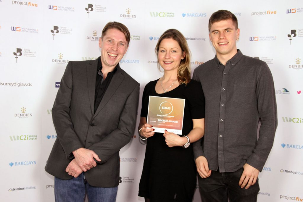 Watb win award at the Surrey Digital Awards 2018