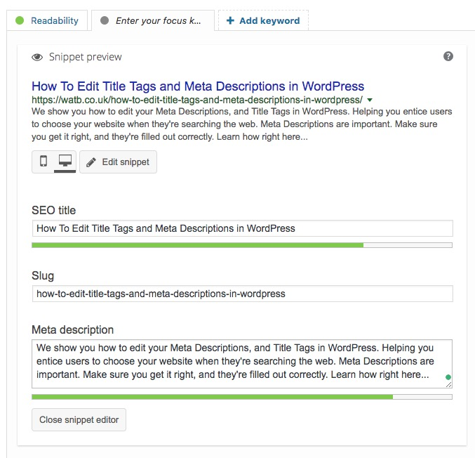 Editing Meta Descriptions in Yoast SEO