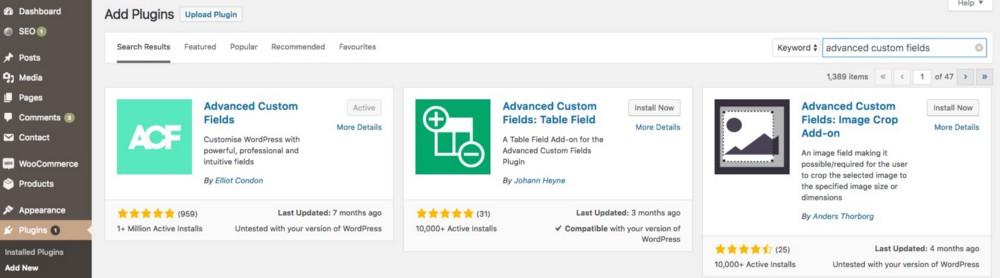 Screenshot of Wordpress Dashboard