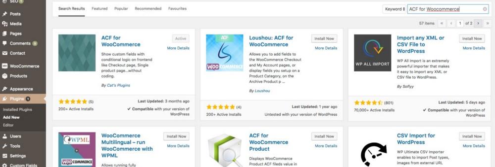 Screenshot of Wordpress ACF for WooCommerce Plugin