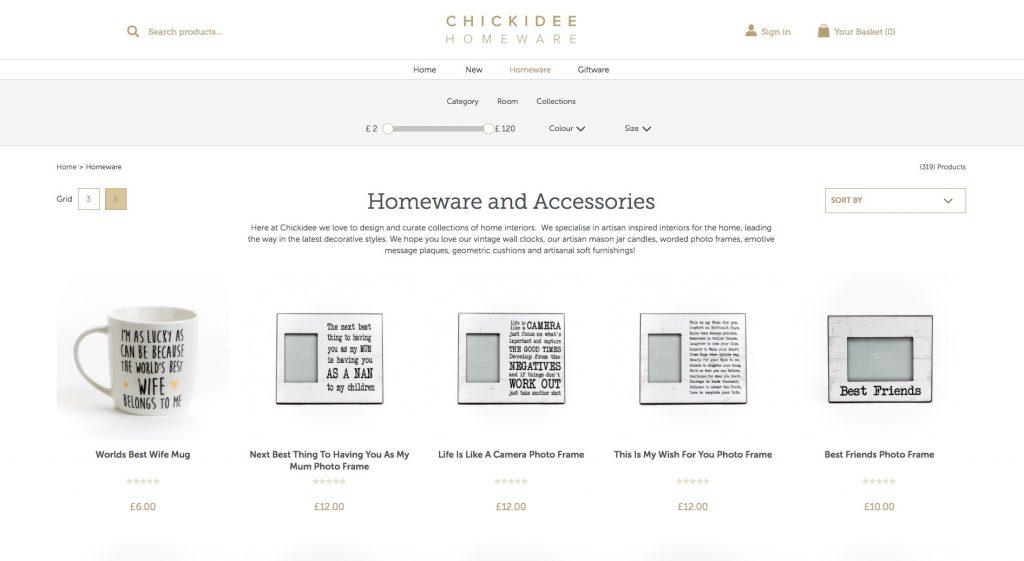 Página de comercio electrónico del sitio web
