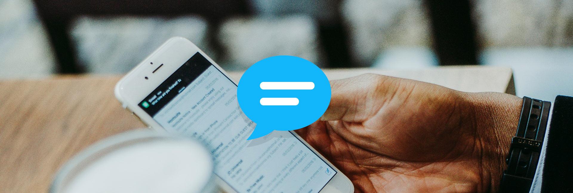 Blue cartoon speech buble coming from a phone