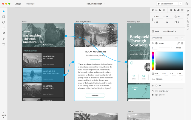 An example of Adobe XD