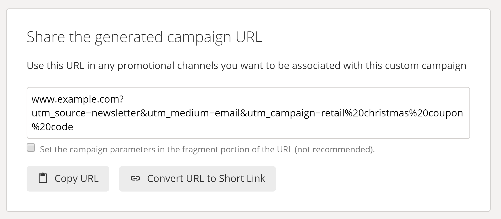 Google UTM Builder Generated URL