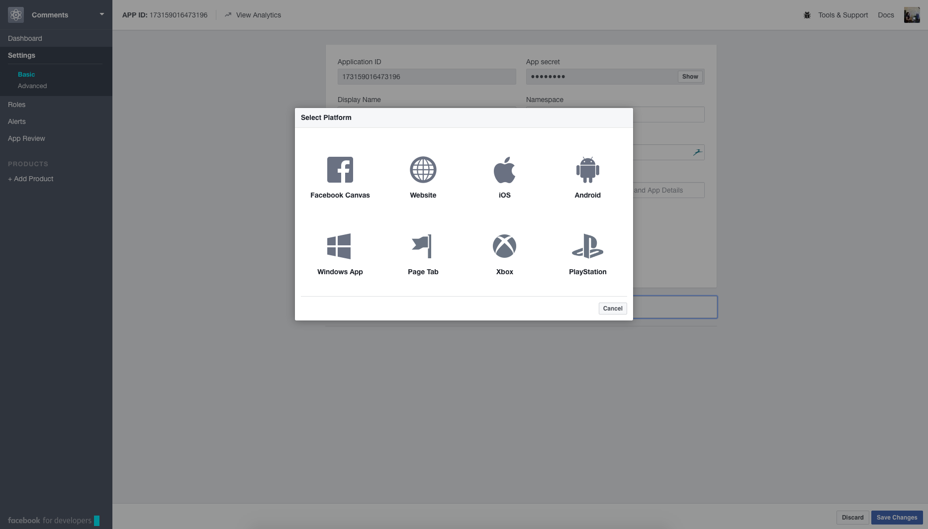 Facebook Developer Tools Interface