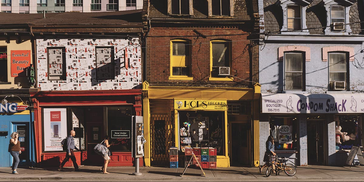 A selection of colourful shop fronts