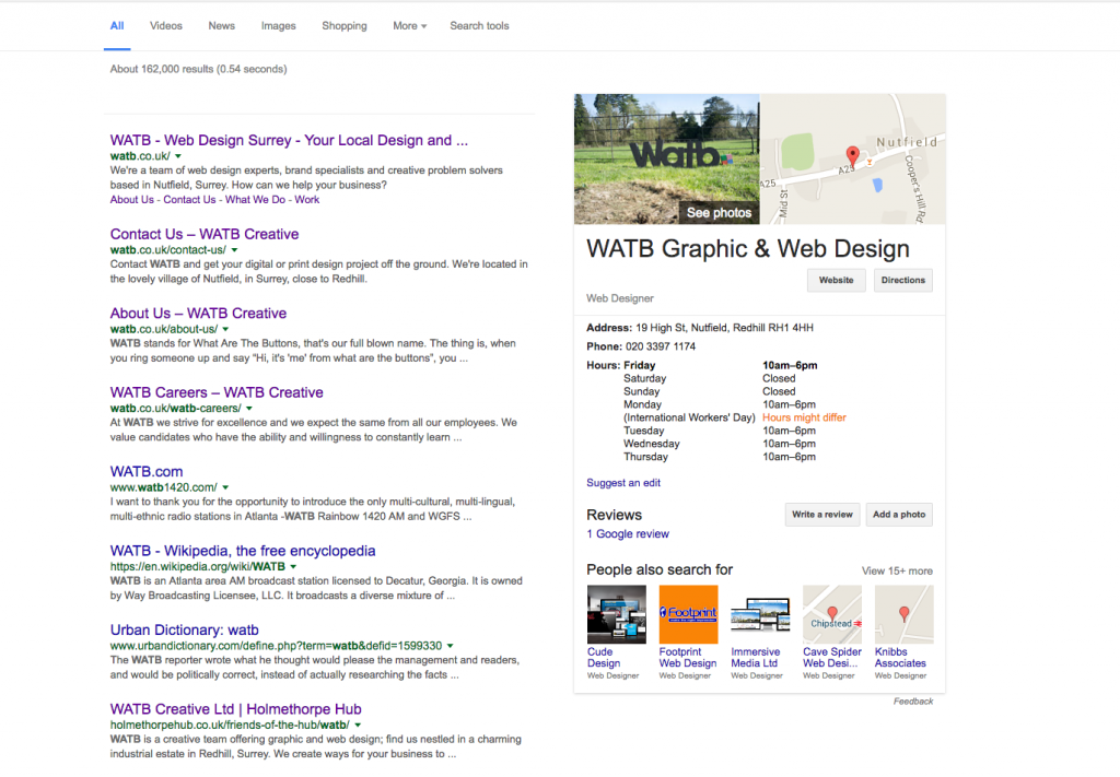 Watb Google Local Search example