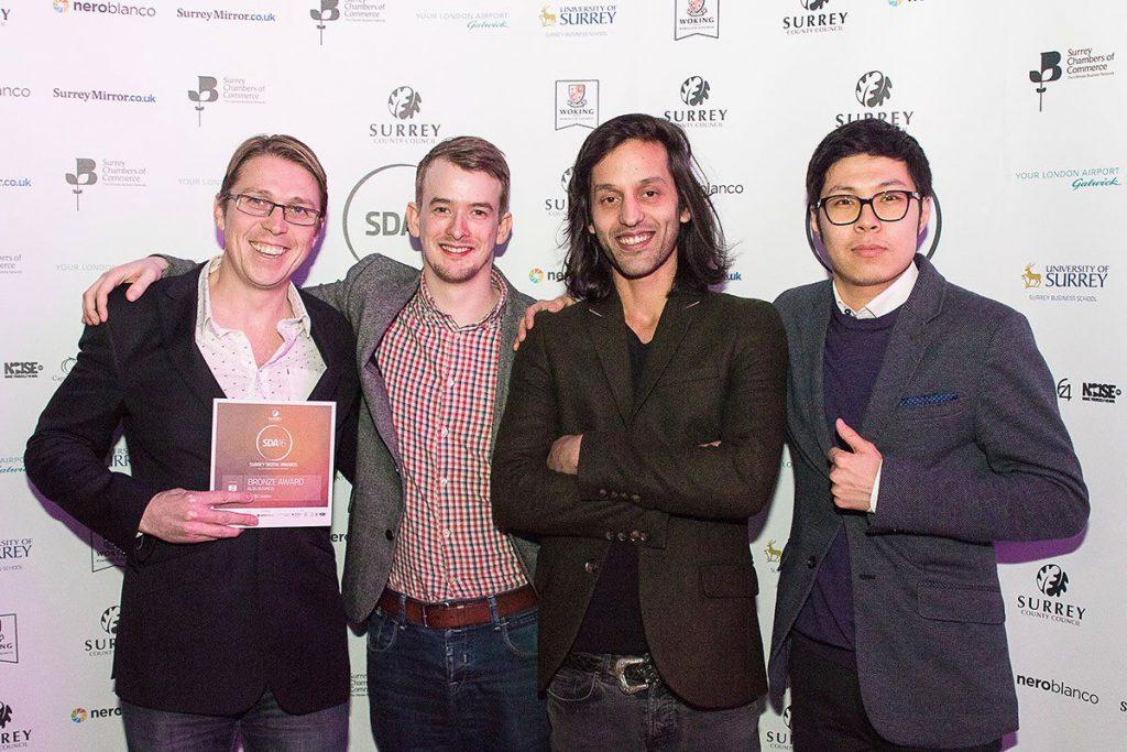 Some of the Watb team receiving a third award at SDA16