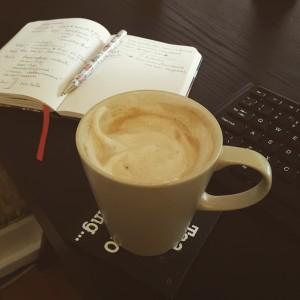 Latte on a desk