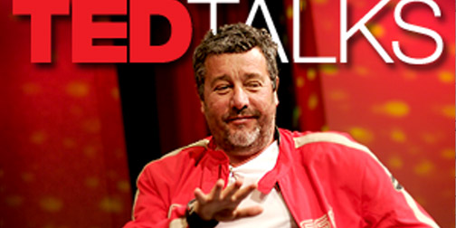 A picture of Phillipe Starck with Ted talks back ground