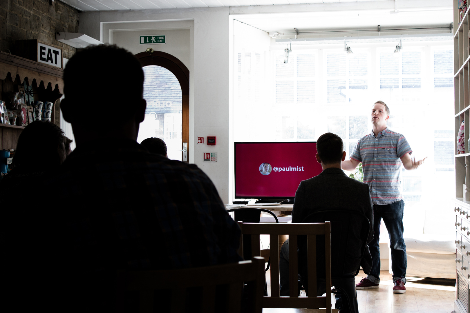 One of the Watb team giving a talk at a 418:Conf Meet Up