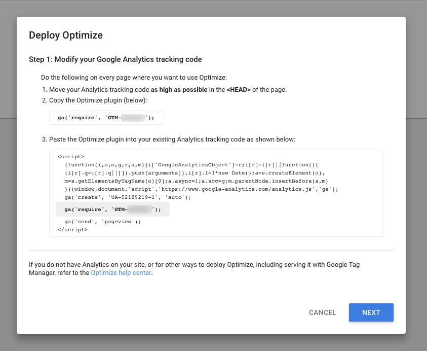 Google Optimize Install Plugin Popup