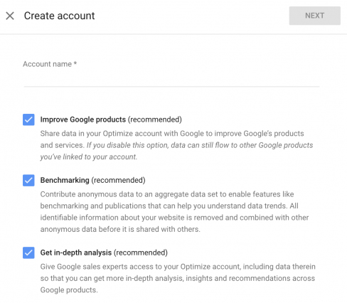 Creating a Google Optimize account