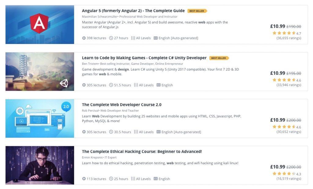 screenshot of udemy web design courses