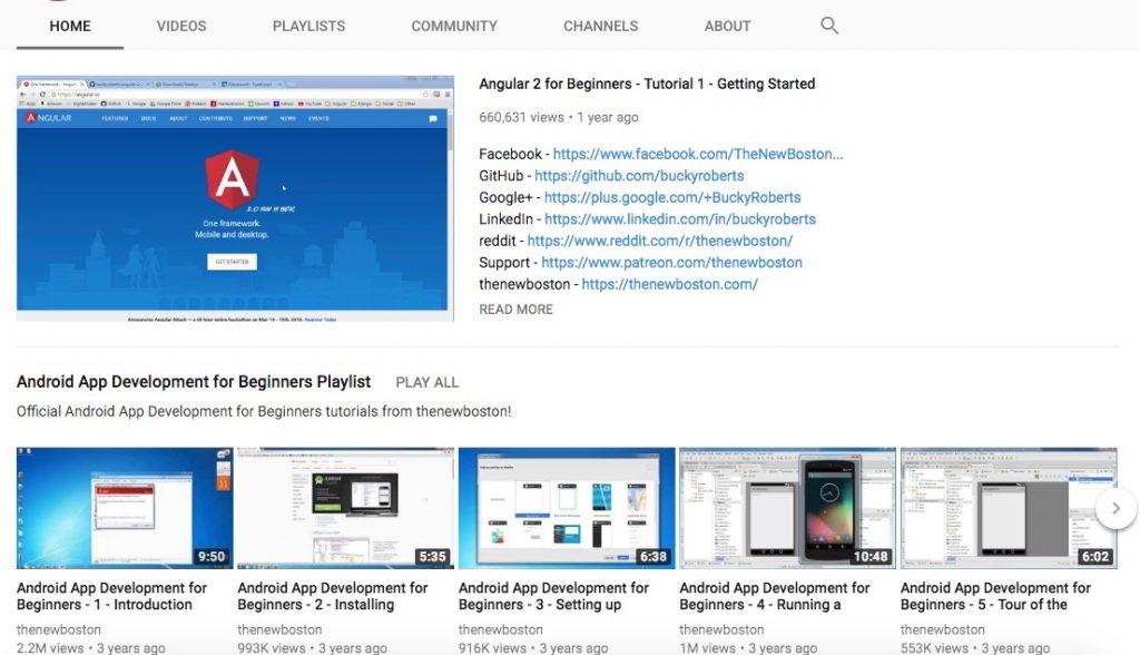 screenshot of the youtube channel thenewboston
