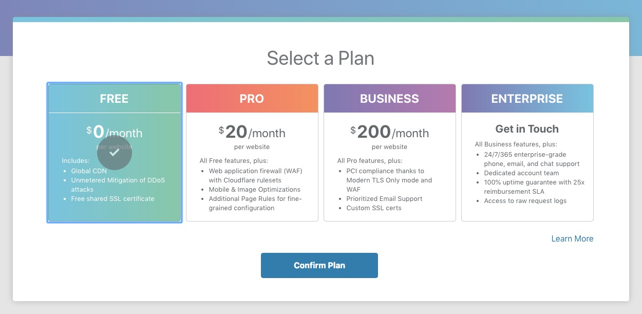 Screenshot of cloudfare website plans page