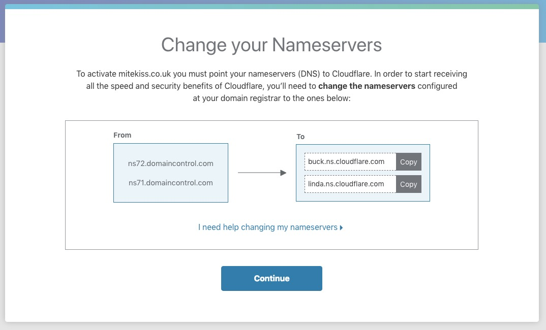 screenshot of cloudfare website nameservers page
