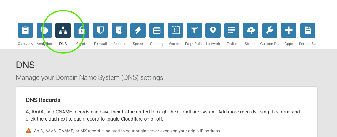screenshot of cloudfares DNS page