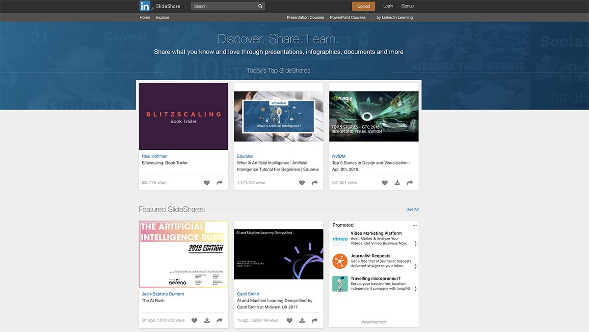 Screenshot of SlideShare's homepage