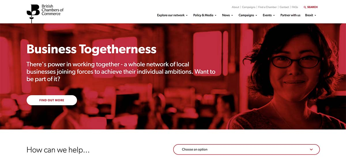 Screenshot of the British Chamber of Commerce's homepage