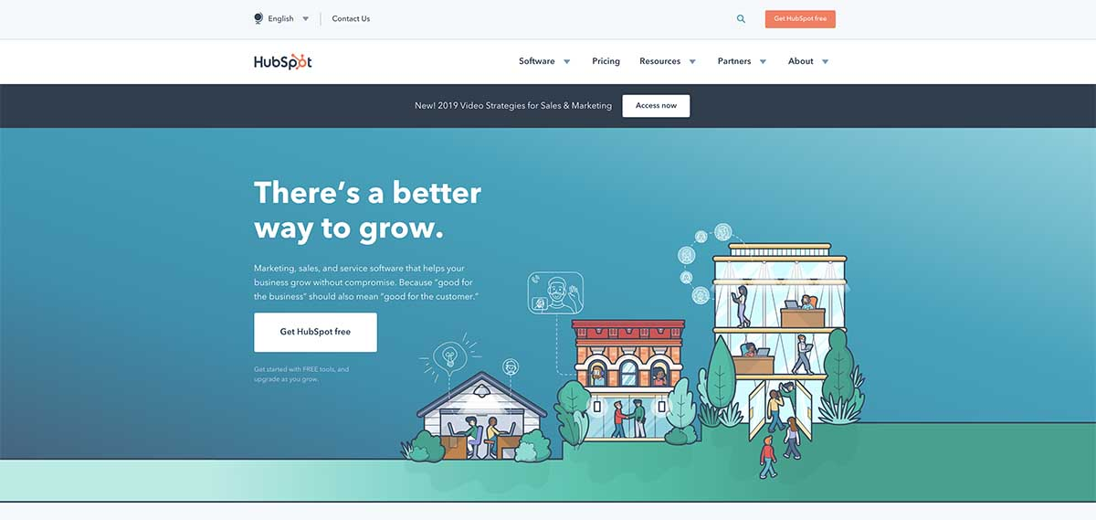 Screenshot of HubSpot's homepage