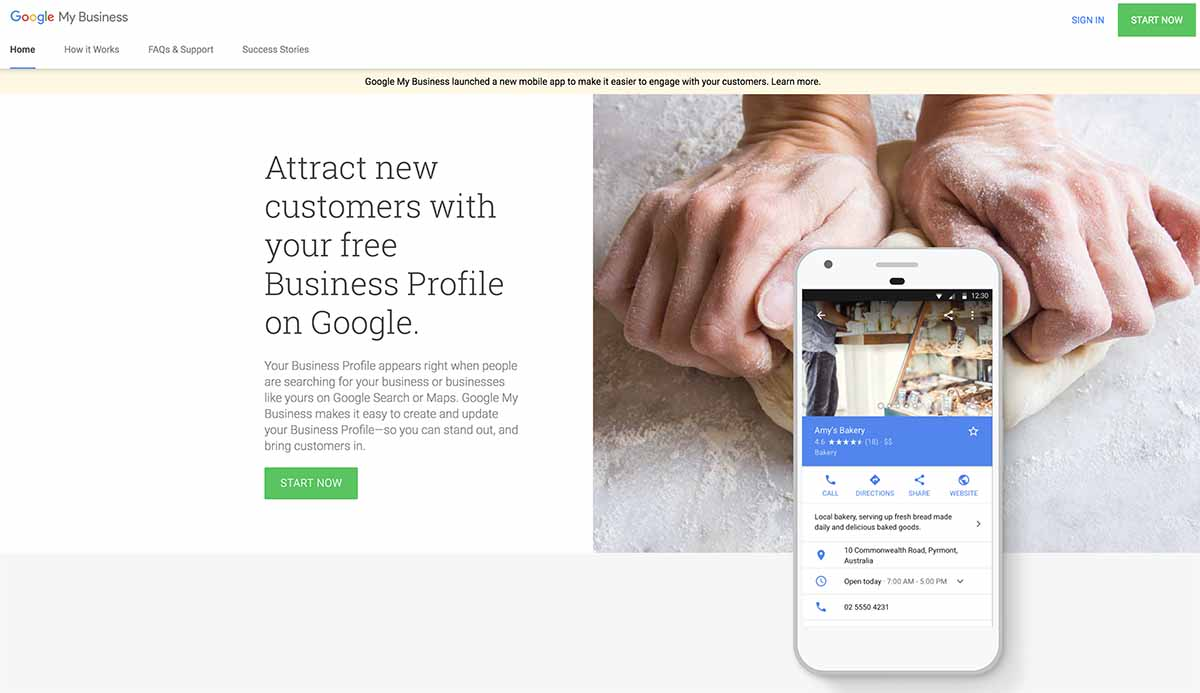 Screenshot of Google My Business's homepage