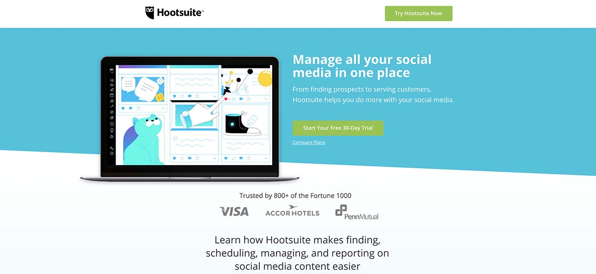 Screenshot of Hootsuite's homepage