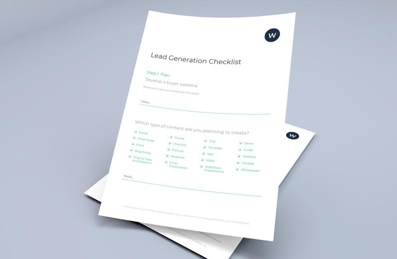 lead generation checklist on paper