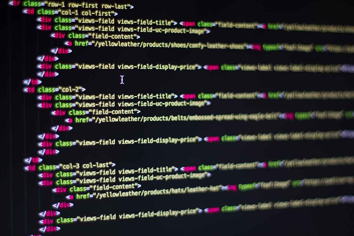 HTML code on a screen